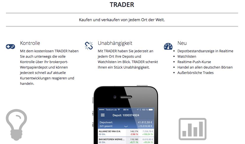 Bei Brokerport ist auch der Handel unterwegs möglich.