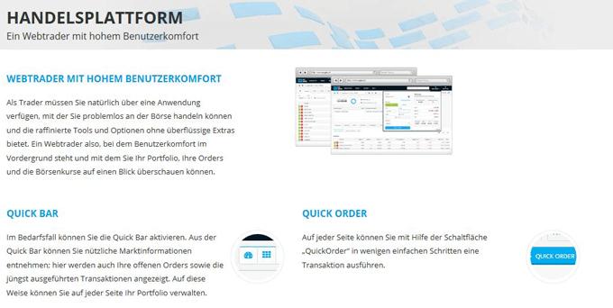 Die webbasierte Handelsplattform bietet viele Funktionen