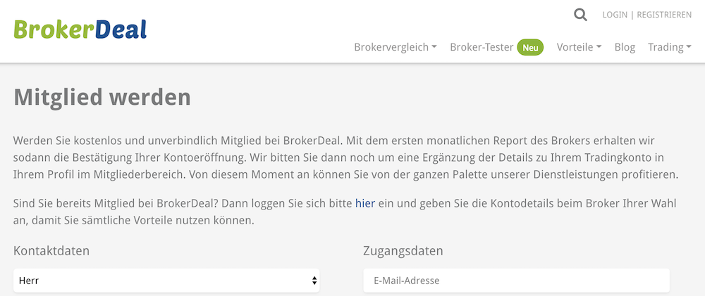 Die Mitgliedschaft bei BrokerDeal ist kostenfrei