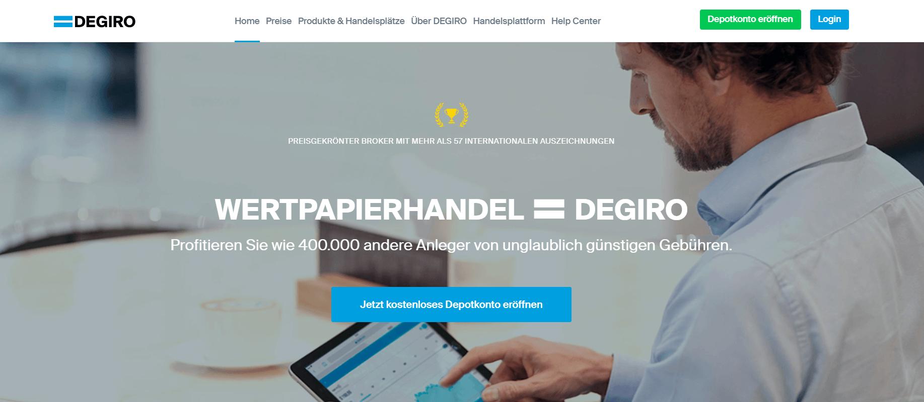 Ein Blick auf die Webseite des Brokers Degiro